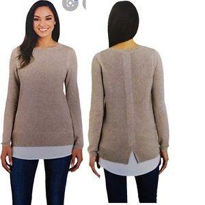 HILARY RADLEY 2 Layers Effect Beige Sweater Tunic